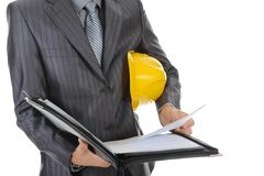 Businessman with construction helmet Stock Images