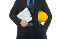 Businessman with construction helmet Royalty Free Stock Photos