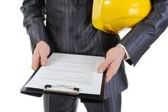 Businessman with construction helmet Stock Photo