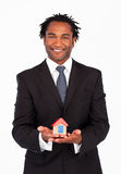 Businessman with constructions of house Stock Image