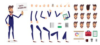 Businessman constructor or male cartoon person character creation set. Parts body template for design, game or animation. Back, front, side head. Avatar of a Stock Photo