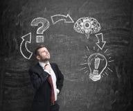 Businessman constructs a decision making procedure. Stock Photos