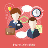 Businessman and Consultant with Speech Bubbles. Business consulting. Concept with text.  Businessman and female consultant with speech bubbles. Icons for web Stock Photography