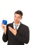 Businessman consulting piggybank Royalty Free Stock Image