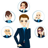 Businessman Contact Network Stock Images