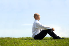 Businessman contemplating in park Royalty Free Stock Photography