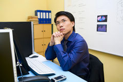 Businessman in contemplation Royalty Free Stock Image