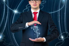Businessman with continent Americaon Royalty Free Stock Images