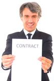 Businessman with contract Stock Photo