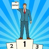 Businessman with contract pop art vector. Businessman on sports pedestal with contract in hand pop art retro vector illustration. Color background. Comic book royalty free illustration