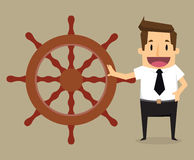 Businessman control henchman with as control steering the boat Stock Photo