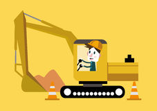 Businessman control track hoe on build site. Royalty Free Stock Photography