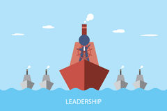 Businessman is controlling a red ship to lead group of gray ship, leadership and business concept Royalty Free Stock Photos