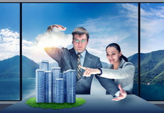 Businessman controls the weather Stock Photos
