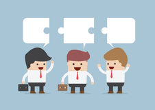 Businessman in conversation, Group of businessman with jigsaw te. Xtbox, VECTOR, EPS10 vector illustration