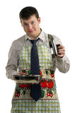 Businessman cooking food Stock Images