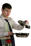 Businessman cooking food Stock Photo