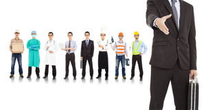 Businessman cooperate with different industries people. Over white stock image