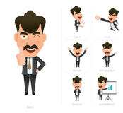 Businessman corporate life flat design 7set-boss Stock Photography