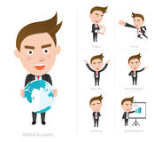 Businessman corporate life flat design 7set-employee Stock Images