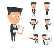 Businessman corporate life flat design 7set-employee Royalty Free Stock Image