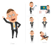 Businessman corporate life flat design 7set-employee Stock Images