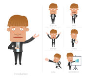 Businessman corporate life flat design 7set-employee Stock Photo
