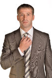 Businessman corrects his tie Royalty Free Stock Photography