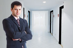 Businessman in a corridor Royalty Free Stock Image