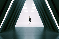 Businessman in corridor interior Royalty Free Stock Photo