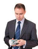 Businessman count cash. Royalty Free Stock Images