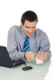 Businessman counting money Royalty Free Stock Photography