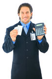 Businessman Counting Money Calculator Royalty Free Stock Photo