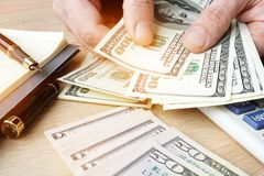 Free Businessman Counting US Dollars Bills. Small Business Concept. Royalty Free Stock Photography - 111263837
