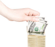 Businessman counts money in hands Royalty Free Stock Photography