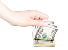 Businessman counts money in hands Royalty Free Stock Images