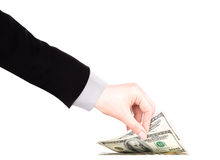 Businessman counts money in hands Stock Photography