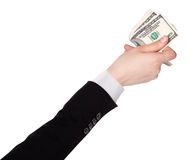 Businessman counts money in hands Royalty Free Stock Photos