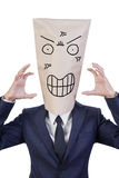 Businessman cover his head with bag Royalty Free Stock Photography