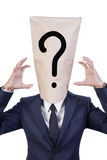 Businessman cover his head with bag Royalty Free Stock Images