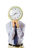 Businessman covering  face with clock Stock Photography