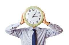 Businessman covering  face with clock Royalty Free Stock Photography