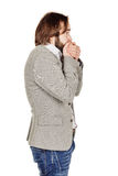 Businessman covering mouth with hands. emotions and people conce Royalty Free Stock Image