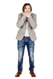 Businessman covering mouth with hands. emotions and people conce Royalty Free Stock Photo