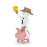 Businessman cowboy riding on piggy bank. Render on a white background Royalty Free Stock Photo