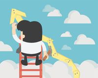 Businessman create stock route up by oneself , Business Success. Concept,leadership concept. Ladder to success business. vector illustration Stock Photo
