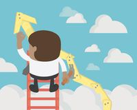 Businessman create stock route up by oneself ladder against the. Sky. education and success concept Stock Photos