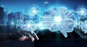 Businessman creating artificial intelligence in a digital brain Stock Illustration