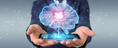 Businessman creating artificial intelligence in a digital brain. With mobile phone 3D rendering vector illustration
