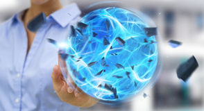 Businessman creating a power ball with his hand 3D rendering. Businessman creating an exploding blue power ball with his hand 3D rendering Royalty Free Stock Photography
